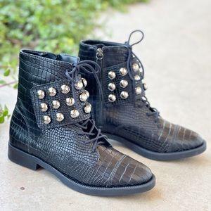 Schutz Marieta Croc Leather Studded Moto Boots